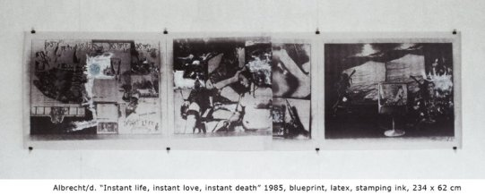 """Instant life, instant love, instant death"", 1985 in ""Medium Fotokopie"" (Hg. Georg Mühleck)"