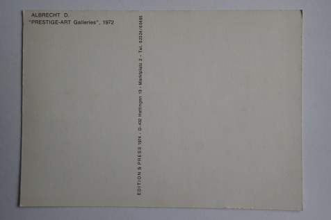 "Karte ""Prestige Art Galleries"" 1972, ungenannte Sammlung"