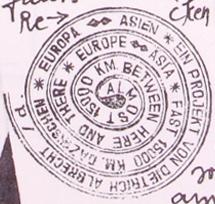 Asien-Europa-Stempel, einkopiert. Sammlung Ralf Siemers.