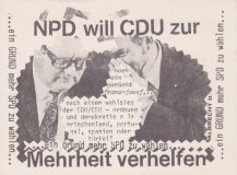"""NPD will CDU..."", Impuls Art Realisations Card nr 23, Sammlung Decker"
