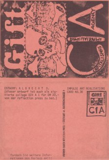 """Gift CIA"", Impuls Art Realisations Card nr 36, Sammlung Decker"